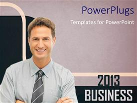 PowerPoint template displaying business success in 2013, with grey