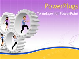 PowerPlugs: PowerPoint template with five human cartoon characters running inside white gears