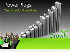 PowerPlugs: PowerPoint template with business team celebrating financial success with dollar signas chart