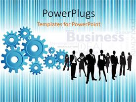 PowerPoint template displaying business team with different sizes of gears connected together