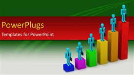 PowerPoint template displaying six multicolored bars with 3D character standing on them