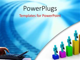 PowerPlugs: PowerPoint template with 3D business men stand on bars of business chart with hand and calculator