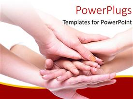 PowerPlugs: PowerPoint template with business team join hands for a cause