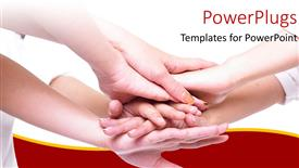 PowerPoint template displaying business team join hands for a cause