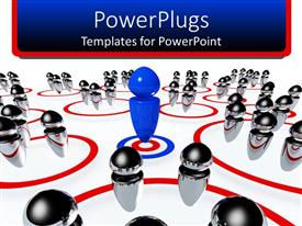 PowerPoint template displaying business team metaphor with blue peg on target and silver pegs in red rings