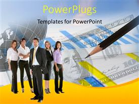 PowerPoint template displaying business team with pencil on dollar bills and financial chart