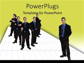 PowerPlugs: PowerPoint template with business team pose confidently on white platform over green background