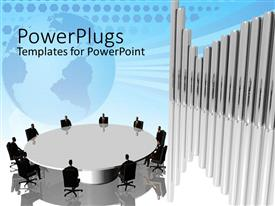 PowerPoint template displaying business team sitting around a round table with 3D diagram bars and faded globe in the background