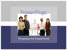 PowerPlugs: PowerPoint template with business team standing around business chart showing growth