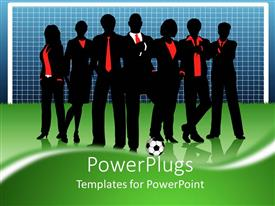 PowerPlugs: PowerPoint template with business team standing in front of goal with football on soccer pitch