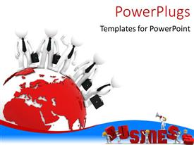 PowerPoint template displaying business team standing on globe with men putting business together