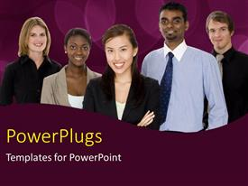PowerPoint template displaying business team with team members from different races over purple background