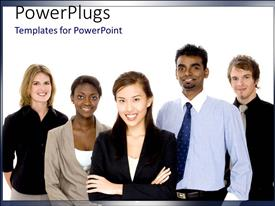 PowerPlugs: PowerPoint template with business team with team members from diverse races working together
