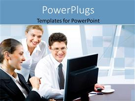 PowerPlugs: PowerPoint template with business team of three with coffee and laptop on desk in office building