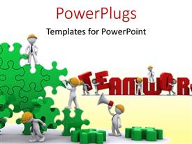 PowerPlugs: PowerPoint template with business Team work building a puzzle