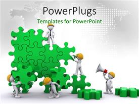 PowerPoint template displaying business team work building puzzles with world map in background
