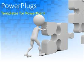 PowerPlugs: PowerPoint template with a white 3D character solving a large puzzle piece