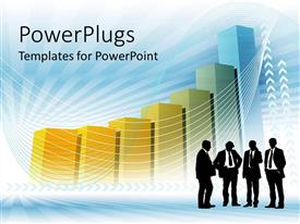PowerPlugs: PowerPoint template with business theme with four men representing teamwork with large chart in the background