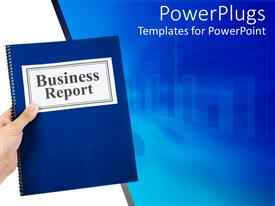 PowerPoint template displaying business theme with hand holding blue notebook business report and chart
