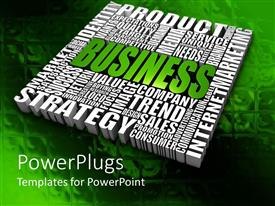 PowerPlugs: PowerPoint template with business theme with product, service, strategy, value, company and other words in block