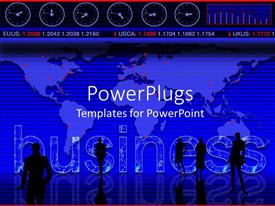 PowerPlugs: PowerPoint template with business theme with world map, business people in silhouette, stock market ticker