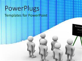 PowerPlugs: PowerPoint template with learning depiction with 3D man training people with chalkboard on white background