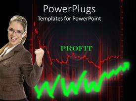 PowerPlugs: PowerPoint template with business woman celebrating profit, red stock market chart, green upward trend arrow
