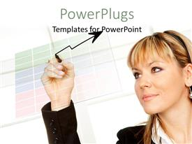 PowerPlugs: PowerPoint template with business woman drawing a graph on transparent glass with white color