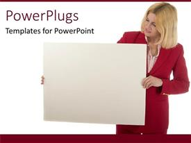 PowerPlugs: PowerPoint template with business woman holding presentation board white background
