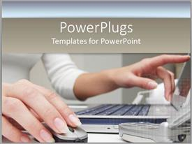 PowerPlugs: PowerPoint template with business woman on laptop with computer mouse on tan background white colors