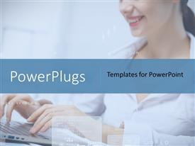 PowerPlugs: PowerPoint template with business woman working on computer against technology background