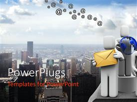 PowerPlugs: PowerPoint template with business work team on building with city background, logistics, IT