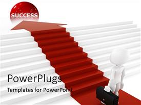 PowerPlugs: PowerPoint template with businessman with briefcase following red arrow and climbing stairs to reach the red success ball