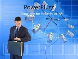 PowerPoint template displaying businessman with briefcase looks at wristwatch with clock in blue surface