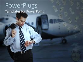 PowerPlugs: PowerPoint template with businessman checking wristwatch beside airplane with dollar bills dropping
