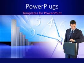 PowerPlugs: PowerPoint template with businessman checks wrist watch with chart and clock in background