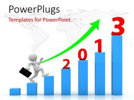 PowerPlugs: PowerPoint template with businessman climbing up blue bar chart over world map in background