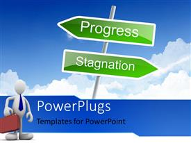 PowerPlugs: PowerPoint template with businessman faced with choices with green business road sign