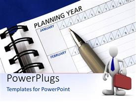 PowerPlugs: PowerPoint template with businessman in front and pen kept with day planner