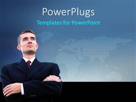 PowerPlugs: PowerPoint template with businessman with global thoughts over world map in background