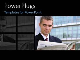 PowerPlugs: PowerPoint template with businessman going through pages of newspaper over tall office buildings