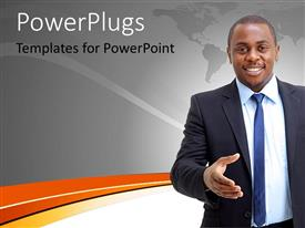 PowerPlugs: PowerPoint template with young businessman gestures for handshake with world map in grey background