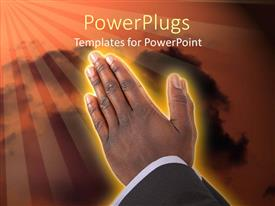 PowerPlugs: PowerPoint template with businessman hands put together in prayer posture.
