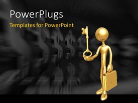 PowerPlugs: PowerPoint template with businessman Holding Golden Key with briefcase, dollars in the background