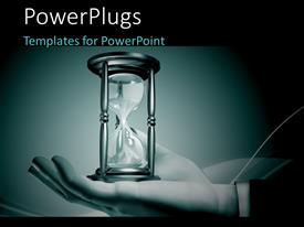 PowerPlugs: PowerPoint template with businessman holding an hourglass in his open hand in Dutone effect