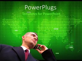 PowerPlugs: PowerPoint template with businessman making a phone call over world map and binary numbers