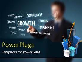 PowerPlugs: PowerPoint template with businessman pressing business type of modern keyword buttons with blue color