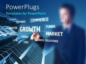 PowerPlugs: PowerPoint template with businessman pressing buttons on touchscreen with skyscrapers in the background