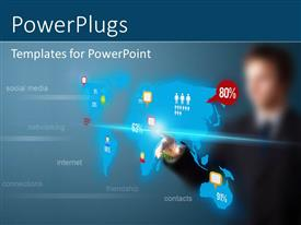 PowerPlugs: PowerPoint template with businessman pressing social media button on digital map, futuristic technology