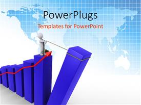 PowerPoint template displaying businessman pulling up the last bar of blue chart with red arrow pointing upwards, blue world map
